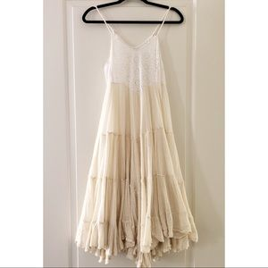 Free People One Ivory And Lace Midi Dress XS